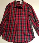 Boys Wrangler Brand Red & Green Plaid Flannel Shirt Size M XL