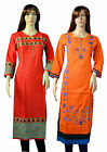 Indian Designer Cotton Ladies Kurta Women Ethinc Long Top Tunic Kurti Set of 2