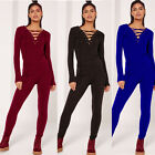 Sexy Women's V-Neck Long Sleeve Playsuit Bodycon Jumpsuit Romper Trousers Pants