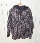 Hoodie Quilt Lined Flannel Coat Jacket Grey Black White Plaid H Outfitters Hood