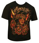 Men's America Johnny Gargan T-Shirt Black Indian Girl Native American Tribe NEW