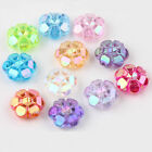 50/100Pcs Clear Acrylic Faceted Flower Shaped Spacer Beads Jewelry Findings DIY
