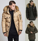 New Mens Designer Sik Silk Fur Hooded Puffa Padded Parka Puffer Jacket Coat