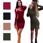 Fashion Women Long Sleeve Cotton Stretch Bodycon Cocktail Tight Casual Dress S-L