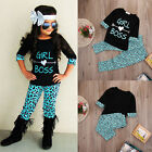 USA Toddler Kids Baby Girls Outfits T-shirt Tops Dress+ Long Pants Clothes Set