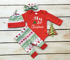 Newborn Baby Girls First Christmas Clothes Romper +Pants Hat Outfits Set 3PCS