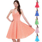 Women's Royal Blue Polka Dot Dress Vintage Halter 50s Cotton Pin Up Party Dress