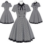 Retro Vintage Gird Pattern 50s Short Sleeve Flared Party Cocktail Swing Dresses