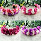Beauty Rose Flower Crown Headband Wedding Double Row Floral Garland Hairband