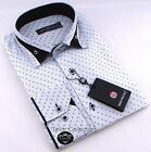 Brand New Mens White Black Paisley Patterned Collar Shirt Slim Fit Formal Smart