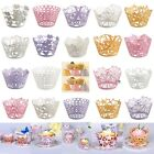 12PCS Laser Cupcake Wrappers Wedding Birthday Cupcake Decorations Wraps Cases