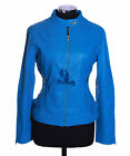 Ladies ANNA Electric Blue New Biker Style Fashion Real Lambskin Leather Jacket