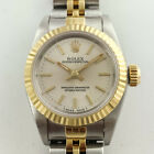 Rolex Lady Oyster Perpetual 67193 24MM Silver Stick Dial Steel Gold Watch