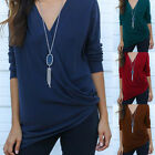 NEW Womens Ladies Long Sleeve Blouse Cotton V Neck Wrap Front T Shirt Work Tops