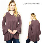 Urban Plus Size Peep Cold Shoulder Bell Sleeve Fleece Tunic Peasant Top 1X 2X 3X
