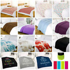 Plain Printed Fleece Throw Warm Soft Large Decorative Sofa Cosy Bed Blanket