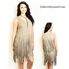 PLUS Boho Western Vintage Hippi Gray Faux Suede Leather Fringed Dress 1X 2X 3X