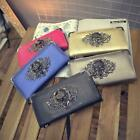 Womens Skull Head Rivet Leather Retro Punk Lady Handbag Long Purse Clutch Bags W