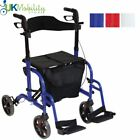 2 in 1 Deluxe Rollator Walking Aid and Transport Transit Mobility Wheelchair