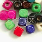 30g 300pcs Approx Wooden Wood Loose Beads Cube Spacer Dyed Jewelry 6x6mm DIY WB5