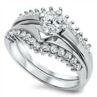 925 Sterling Silver Solitaire Clear CZ Promise Wedding 2in1 Set Ring
