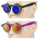 2 Pair Cool Flip Up Lens Steampunk Vintage Retro Round Sunglasses Back/blue US N