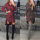 Vintage Women Long Sleeve Plaid Top Cocktail Party Evening Shirt Dress With Belt