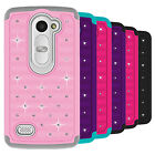 For LG Leon C40 / LG Tribute 2 Case Diamond Bling Hybrid Protector Phone Cover