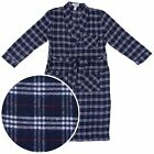 New Navy and White Plaid Men Bathrobe Flannel Cotton Blend Pockets Size X-Large