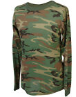 Men's Long Sleeve Woodland Camo T-Shirt / Made in the USA - FREE SHIPPING