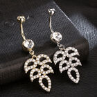 Navel Belly Glamour Button Ring Crystal Leaves Dangle Body Piercing Jewelry