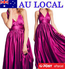 Pink Halter V-neck Backless Wedding Evening Gown Formal Prom Party Maxi Dress
