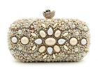 Champagne Gold Encrusted Crystals Pearls Wedding/Evening Solid/Hard Clutch Purse