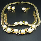 wholesale 18K GP pearl wedding necklace earrings bracelet ring jewelry set TZ203