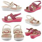 NEW GIRLS OPEN TOE SANDALS CASUAL EVENING LOW HEEL SUMMER WEDGE SHOES UK SIZE