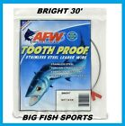 AFW TOOTH PROOF STAINLESS STEEL LEADER Single Strand Wire 30' Long BRIGHT COLOR