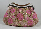 New Vintage Style Champagne Pink Fully Beaded Handbag Clutch Designer Roses