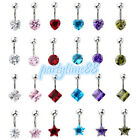 Stainless Steel Round Heart CZ Gem Navel Belly Barbell Button Ring Body Piercing