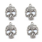 20/40 Pcs Tibetan Silver Skull Charms Pendants For Jewelry Craft Making 24mm