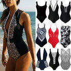 Womens Swimming Costume Push Up Swimsuit Monokini Swimwear Blackless Bikini UK O
