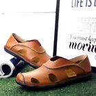 Men's Business Sandals Breathable Hollow Slippers Fashion Split Leather Shoes
