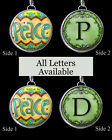 "Letters Initials Peace BOHO Hippie Green Fun Necklace 1"" Silver Charm Pendant"