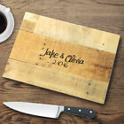 Personalized Glass Cutting Board With Graphic Wood Print Kitchen Decor Gift Idea