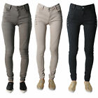 Women's Ladies  Jeans Denim Slim Fit Skinny Mid Rise Trousers Side Buttons 6-14