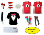CHILDRENS CAT IN THE HAT T SHIRT HAT SET FANCY DRESS BOOK WEEK COSTUME ADULT TOP