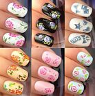 NAIL ART STICKERS WATER TRANSFERS DECALS DENIM BOW STAR HEART FLOWERS ROSES PINK