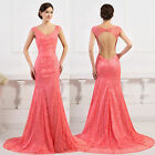 ON Sale Lace Mermaid Evening Pageant Prom Dresses Cocktail Prom LONG Dress Gown