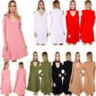 New Ladies Women V Choker Neck CUT OUT COLD SHOULDER Flared Swing MINI Dress TOP