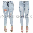 Ladies Women Destroyed Ripped Frayed Distressed Slim Denim Pants Jeans Trousers