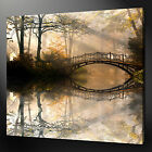 BRIDGE IN THE SUNNY FOREST LANDSCAPE WALL ART PICTURE CANVAS PRINT READY TO HANG